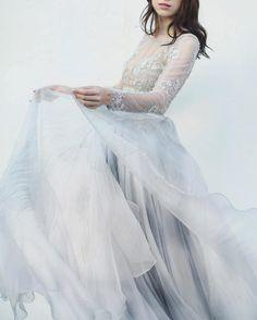 Nothing makes for romantic photos more than a flowing, diaphanous skirt | WedLuxe Magazine | #WedLuxe #luxury #wedding #luxurywedding #weddinginspiration #fashion #bridal #weddinggown #weddingdress