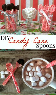 DIY Candy Cane Spoons for hot chocolate are so easy and fun to make! | www.housewivesofriverton.com