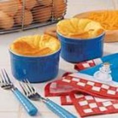 Cheese Souffles - perfect use for the cute little ramekins I just bought!