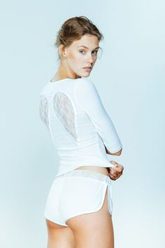 Black ribbed jersey shorts edged with satin. Slits on the sides decorated with small box bows. Sexy Shorts, White Shorts, Types Of Shorts, Luxury Lingerie, Lingerie Collection, White Long Sleeve, Lounge Wear, Summer 2015, Spring Summer