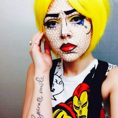 Pop Art face makeup - Use a thin black line (eyeliner or paint) to ...