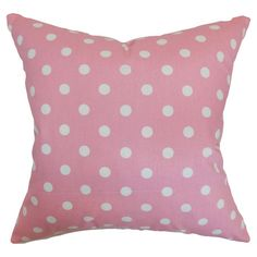 Polka-dotted accent pillow with a down fill.   Product: PillowConstruction Material: Cotton and 95/5 down fill