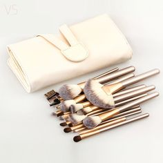 12/18/24 Unids Pinceles de Maquillaje Profesional Conjunto Suave Sintético Compone el Cepillo Kits de Cepillo de Sombra de Ojos Delineador de Labios con la Bolsa