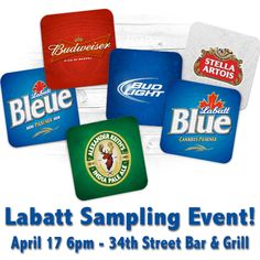 Don't miss the Labatt sampling event this week at 34th Street Bar & Grill! Come along to taste some of their great drinks on Thursday night!