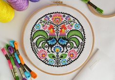 PATTERN Folk Roosters Cross Stitch Chart - Traditional Folk Inspired Modern Cross Stitch - Floral Cockerel Round Design