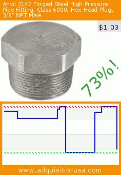 """Anvil 2142 Forged Steel High Pressure Pipe Fitting, Class 6000, Hex Head Plug, 3/8"""" NPT Male (Misc.). Drop 73%! Current price $1.03, the previous price was $3.81. http://www.adquisitio-usa.com/anvil-international/anvil-2142-forged-steel-5"""