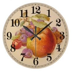 Shop Fruit Still Life Large Clock created by Personalize it with photos & text or purchase as is! Still Life Images, Large Clock, Be Still, Clocks, Display, Fruit, Cherries, 1940s, Artwork