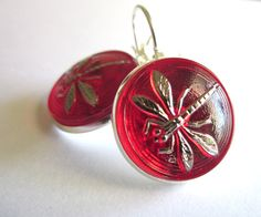 Vintage glass button earrings, red glass with silver dragonflies