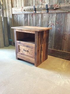 Reclaimed Barn Wood Nightstand / Rustic Bedside Table / Accent Table - August 17 2019 at Old Barn Wood, Reclaimed Barn Wood, Rustic Wood, Barn Wood Projects, Furniture Projects, Rustic Furniture, Diy Furniture, Furniture Market, Furniture Stores