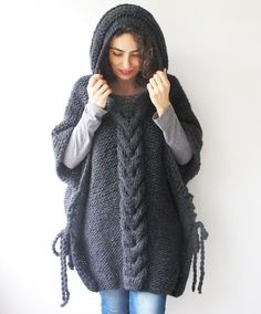 20%%20WINTER%20SALE%20Dark%20Gray%20Plus%20Size%20Cable%20Knit%20Poncho%20with%20by%20afra