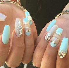 Summer light turquoise nails * mint nails with nail charms nails ногти, м. Fabulous Nails, Gorgeous Nails, Love Nails, Pretty Nails, Nagel Bling, Mint Nails, Turqoise Nails, Nailed It, Nail Charms