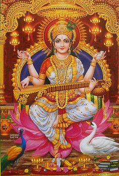 "Goddess Saraswati playing Veena Hindu Poster (Size10""x16"" Inches:npd7613)"