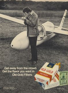 Items similar to 1972 Old Gold Cigarettes Vintage Ad Glider Plane Man Smoking Airplane Photo Print Advertisement Retro Bar Wall Art Black & White Decor on Etsy Retro Advertising, Vintage Advertisements, Vintage Ads, Vintage Signs, Man Smoking, Smoking Room, Vintage Cigarette Ads, One In A Million, Getting Old