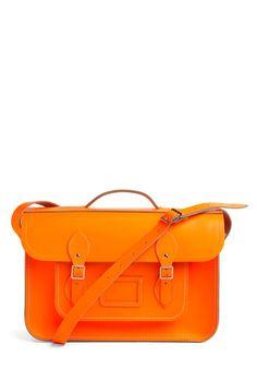 "Upwardly Mobile Satchel in Neon Orange - 15"" by The Cambridge Satchel Company  - Orange, Solid, Buckles, Neon, Scholastic/Collegiate, Leather"