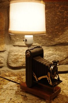 Vintage Folding Camera Table Lamp, Great Classic Look. Perfect for any photographer.