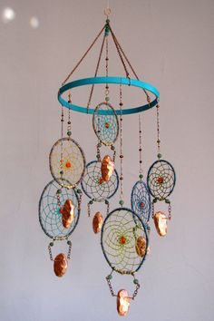 turquoise dream copper with copper leafed by thesleepysilkworm on etsy