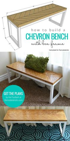 With Herringbone Chevron Top And Box Frame Base Legs - This bench is easy to build in a weekend and the pieced chevron top is simple enough for even a beginner! #woodworkingplans #DIYbench #chevron Diy Furniture Table, Diy Furniture Plans Wood Projects, Diy Projects With Wood, Diy Wood Crafts, Upcycled Furniture, Diy Bank, Diy Wood Bench, Build A Bench, Entry Bench Diy