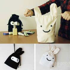 Wholesale Ninja Rabbit Cloth Bag geen patroon maar wel een leuk idee!