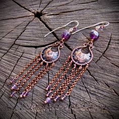 Oriental boho earrings with amethyst and floral by ViolinDesign