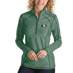 North Dakota Antigua Women's Tempo 1/4-Zip Desert Dry Pullover Jacket - Green