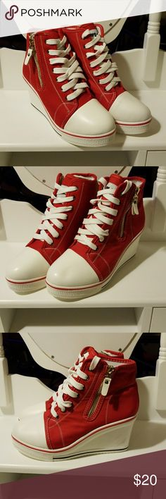 Super cute sneaker wedges/pumps Totally cute red sneaker wedges/pumps, wasn't sure how to categorize these shoes but used them as wedges/pumps. Size 38 US 8 check EU chart size. Gently loved. Used for all type of occasions just needs your imagination. Sports Shoes Wedges