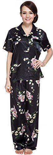 dc428aee9f Sunrise Women s Short Sleeve Classtic Satin Pajama Set (XX-Large