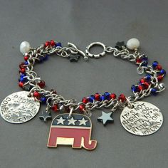 Republican Handstamped Charm Bracelet by WireNWhimsy on Etsy, $38.00