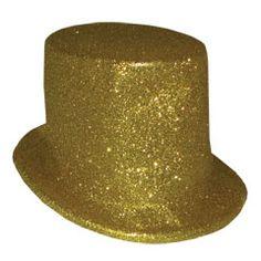 Gold Glitter Top Hat from Windy City Novelties