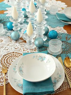 Wintry Tablescape with DIY Dyed Doilies, Bronze Flatware, Iittala