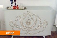 great makeover of cabinet. Before & After: Having Fun with Upholstery Nails