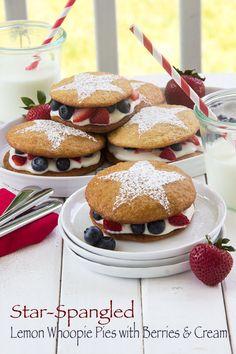Star-Spangled Lemon Whoopie Pie with Berries and Cream via @Matt Valk Chuah Scrumptious Pumpkin