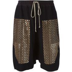 Rick Owens drop crotch shorts ($450) ❤ liked on Polyvore featuring shorts, black, embroidered shorts, elastic waist shorts, rick owens, elastic waistband shorts and drawstring shorts