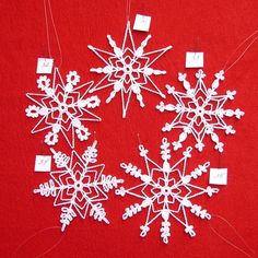 PDF Patterns for 5 Crocheted Snowflakes set 7 by TheNeedleWorks