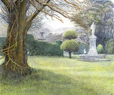 An old grey fountain in its midst - The Secret Garden by Frances Hodgson Burnett, illustrated By Inga Moore.