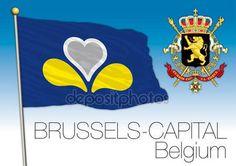Bandiera regionale di capitale Brussles, Belgio — Vettoriali  Stock © frizio #143052093