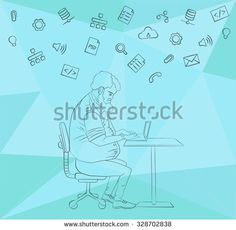 Vector flat illustration of workplace and coworking. Social network and community concept. Designer and internet layout. Cloud technology and services in line style icon. Character man in hackathon
