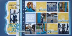 "Two page scrapbook layout with 13 photos!  Looks like twelve 3.75"" x 3.75"" and one 3.75"" x 5"" (vertical).  From Sketch Support: Two-page Week, Part 6 - Guest Designer, Andrea Friebus"