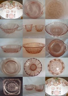 Pink Depression Glass Dishes. My mom has the pink, I have the cobalt blue - love this vintage touch!