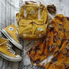 yellow converse and yellow school back pack Yellow Converse, Converse Style, Wedding Converse, Packing, Backpacks, Bags, Modern, Outfit Ideas, Fashion