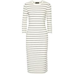 Theory Delissa striped stretch-knit midi dress (32,725 INR) ❤ liked on Polyvore featuring dresses, theory, vestidos, slimming dresses, striped dress, calf length dresses, white striped dress and white dress