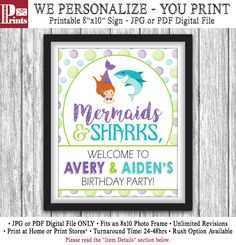 Sharks and Mermaids Party Sign - Printable Mermaids and Sharks Birthday Party Decorations - Welcome Sign - DIY Digital File by PuggyPrints on Etsy Twin Birthday Parties, Birthday Party Decorations, Party Themes, Kid Parties, Birthday Stuff, Theme Parties, 3rd Birthday, Birthday Ideas, Party Ideas