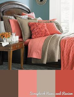Coral and tan bedroom Possible bedroom colors Tan Bedroom, Home Bedroom, Bedroom Ideas, Pretty Bedroom, Peach Bedroom, Girls Bedroom, Modern Bedroom, Girl Room, Bedroom Interiors