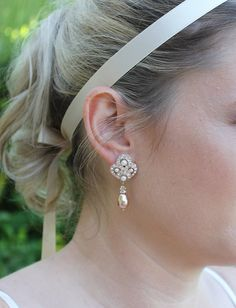 Rose Gold Pearl Wedding Earrings ROSE GOLD by BeFrostedBridal