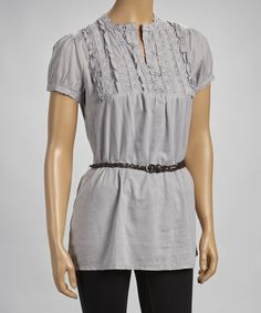 Take a look at this Silver Ruffle Belted Tunic on zulily today!