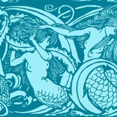 The Mermaids ~ Masquerade with Vicomte ~ Large fabric by peacoquettedesigns on Spoonflower - custom fabric