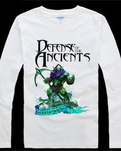 DOTA Leviathan T-shirt fresco de manga comprida T preto para o homem-
