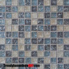 Matte blue crackle glass mosaic tile backsplash