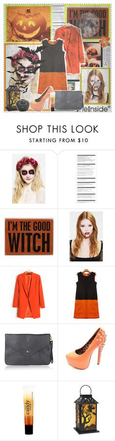 """""""""""If human beings had genuine courage, they'd wear their costumes every day of the year, not just on Halloween."""" - Doug Coupland"""" by getterkagu ❤ liked on Polyvore featuring Graftobian, Arche, Primitives By Kathy, Charlotte Russe, philosophy and vintage"""