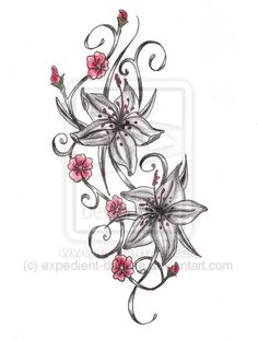 Lily Cherry Blossom Tattoo Design