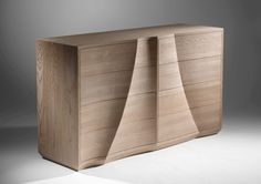 """""""Sliabh"""" - sculptural chest of drawers in solid Oak featuring hand carved and textured surfaces. 2016."""